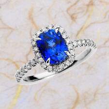Natural Diamond 2.6 Ct Blue Sapphire Gemstone Ring Solid 14kt White Gold Rings