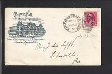 "SARATOGA SPRINGS,NEW YORK,1892,#220, COVER, ILLUST HOTEL ADVT, ""CONGRESS HALL""."