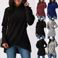 NEW Womens Long Sleeve Hooded Asymmetric Hem Wrap Hoodie Sweatshirt Outwear Tops