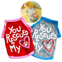 Pet Dog Clothes YOU RESCUED MY HEART Small Dog T Shirt Puppy Chihuahua Clothing