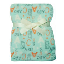 Baby Gear Plush Velboa Ultra Soft Baby Blanket 30 x 40, Sky Abc