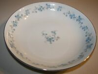 "Yamaka China Nancy Pattern 548 Soup Coupe Bowls 7 5/8"" Blue Floral Platinum Trim"