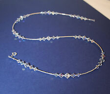 .925 Sterling Silver Crystals AB Handmade Necklace made with SWAROVSKI ELEMENTS