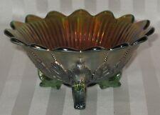 Northwood Leaf & Beads Green Carnival Bowl