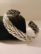 Silver Cuff Bracelet 13mm B4005 Six Wire Weave Solid 925 Sterling