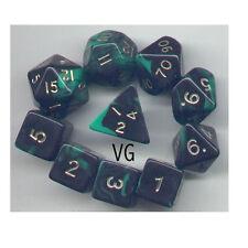 RPG Dice 10pc - Oblivion Green - 1 @ D4 D8 D10 D12 D20 D00-10 & 4 D6