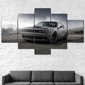 Dodge Challenger SRT Muscle Car 5 Panel Canvas Print Wall Art