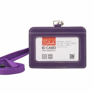 ID Card Holder Faux Leather Lanyard Staff Work Badge Holder Durable Name Tag