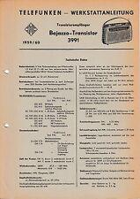 Service Manual-Anleitung für Telefunken Bajazzo Transistor 3991