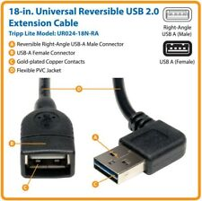 """Universal Reversible USB 2.0 Right/Left Angle A (M) to A (F) Extension Cable 18"""""""