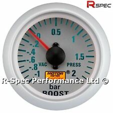 Silver Face 52mm Mechanical Turbo Boost Pressure Gauge BAR With Fitting Kit
