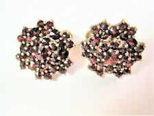 Antique Earrings Real Silver Gold Plated with Garnet, 5,49 G