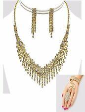 Clear Crystal Rhinestone GP Fringe Necklace Earring Slave Bracelet Set (3pc Set)