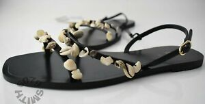 BNWT Zara Flat Lether Sandles With Sea Shell Detail Size 4
