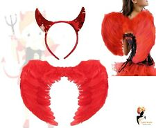 RED DEVIL SEQUIN HORNS BAND + FEATHER WINGS SET Halloween Fancy Dress Costume