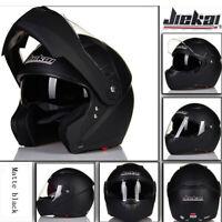 Modular Flip Up Motorcycle Helmet Full Face w/Dual Visor Matte Black Cruiser ATV