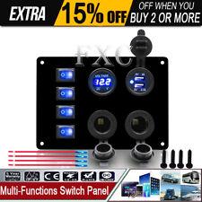 IP67 Marine Car DIY 4 Gang Blue LED Toggle Switch Panel 12V 24V Universal AU NSW