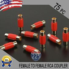 75 Pcs Bag Female To Female RCA Couplers RED w/Gold Plated Connectors PACK US