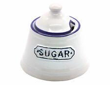 Small White and Blue Vintage Ceramic Sugar Pot / Bowl with Lid by Gisela Graham