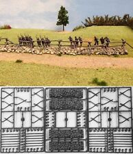 Renedra Generics - Cross & Rail Fencing with Stone Bases - 28mm
