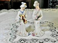 CHARMING VINTAGE HAND CRAFTED TWO GEISHA CERAMIC FIGURINES JAPAN C 1950'S