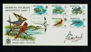 Bermuda: 1978, Birds definitive, part  set of 5 stamps on FDC, includes $5.