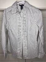 White House Black Market Women's Size 2 White Black Pinstripe Button Up Shirt