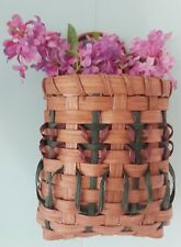 1-Pair~(2)~Wall Pockets Woven Baskets~Interwoven Colors~Catch All~Flowers,Etc.