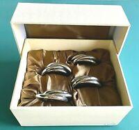 L'Objet 3 Ring Platinum Napkin Rings Set of 4 Luxury Gift Box NJ1000