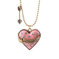 "32"" New Betsey Johnson Heart Locket Pendant Necklace Gift Vintage Women Jewelry"
