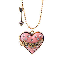 "32"" New Betsey Johnson Heart Locket Pendant Necklace Gift Vintage Women Jewelry"
