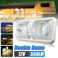 12V 48LED Roof Double Dome Light Ceiling Fixture Camper Trailer Marine RV White
