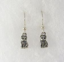 Cat Dangle Earrings .925 Sterling Silver Wire USA Made Kitty Sitting Kitten