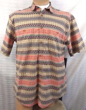 ORVIS CASUAL SHIRT Mens L VINTAGE SS SOUTHWESTERN ABSTRACT TRIBAL ARIZONA Cotton