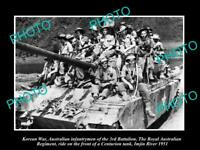 OLD LARGE HISTORIC PHOTO KOREAN WAR AUSTRALIAN 3rd BATTALION CENTURION TANK 1951