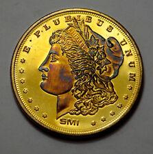 Golden Toning Sunshine Mint Morgan Design 1 Troy Oz .999 Silver Round ,SMI !