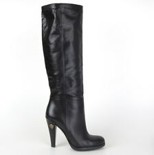 61526 auth GUCCI black leather Knee-High Boots Shoes 35