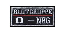 0 - Neg Blutgruppe Patch Aufnäher Badge Biker Heavy Rocker Bügelbild Kutte Stick