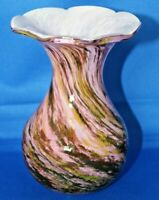 Isle of Wight Art Glass Vase Pink with Brown & Orange Swirls Alum Bay Studio