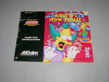 KRUSTY'S FUN HOUSE (Nintendo NES) Original Instruction Manual