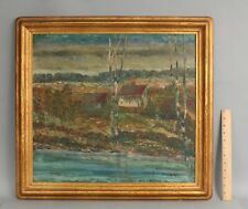 Antique American Impressionist Oil Painting & Foster Brothers Gilded Wood Frame