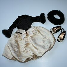 American Girl Midnight Holly Outfit Fancy Dress Shoes Fur Collar For Doll Only
