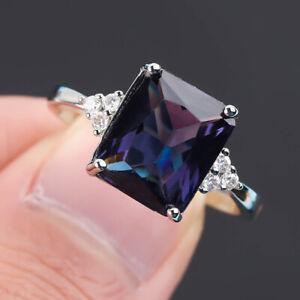 Fashion 925 Silver Women Band Jewelry Amethyst Wedding Engagement Rings Size5-11