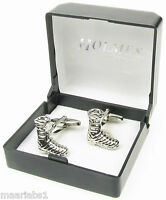 NOVELTY SILVER PAIR PUSS IN BOOTS THEATRE SHOES FOOT CUFF LINKS XMAS BNIB NEW UK