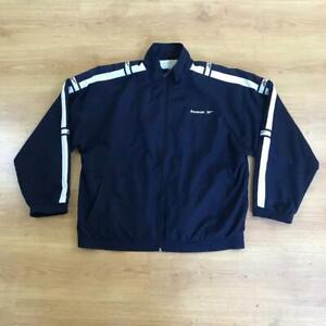 Reebok Vintage 90s Dark Blue Navy Ticker Tape Spell Out Tracksuit Top Jacket L
