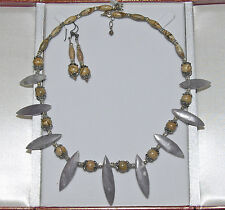 Handmade Tribal Style Purple Jade Bead & Picture Jasper Spiky Necklace Set