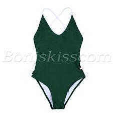 Women's One Piece Bikini Deep V Backless Monokini Swimsuit Swimwear Bathing Suit