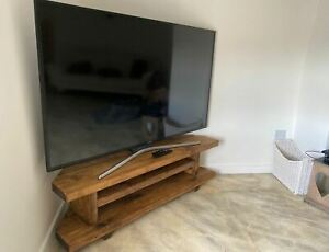 Corner TV Unit Stand Cabinet. 120cm. Handmade chunky rustic pine. Rugger Brown.