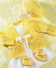 "PREMATURE~BABY~GIRL~CARDIGAN/BERET/SHOE~4PLY~KNITTING PATTERN~SIZE 12-20"" (CB57)"