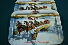 """2 Budweiser ClydesdalesServing Trays 18""""x12.5"""" - Never Used"""